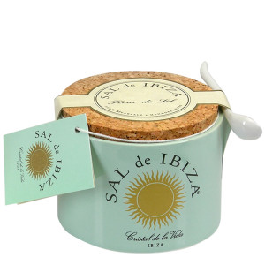 Sal de Ibiza Fleur de Sel in a Ceramic Jar with a Spoon