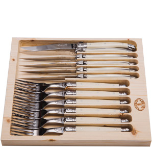 Jean Dubost 12 Pc Cutlery Set with Ivory Handles