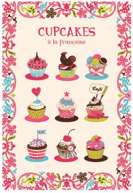 Torchons & Bouchons Cupcakes Tea Towel