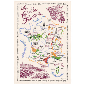 Torchons & Bouchons Tea Towel French Wine Map