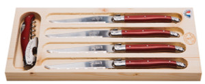 Jean Dubost 5pc Red Steak Knives and Wine Waiter Set
