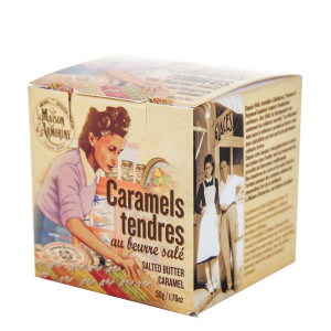La Maison d'Armorine Salted Butter Caramels in Yvonne Cube Box