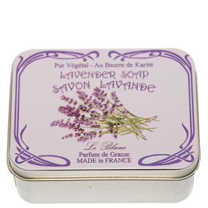 Savon Le Blanc Lavender Soap in Lavender Flower Metal Tin