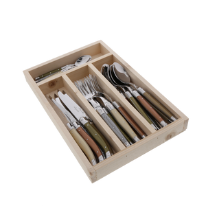 24 Pc Everyday Flatware Set with Mineral colored Handles