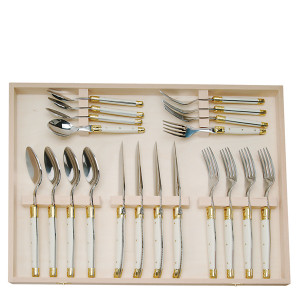 Jean Dubost 20 Pc Flatware Set with Ivory in a closed box