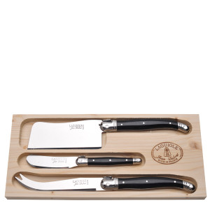 Jean Dubost 3pc Cheese Set in Black