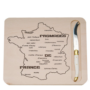 Jean Dubost Map of French Cheeses Cutting Board & Cheese Knife