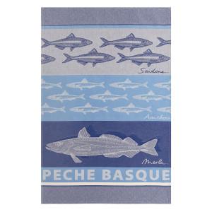 Jean Vier Arnaga Tea Towel with Basque Fish Design