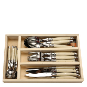 Jean Dubost 24 Pc Everyday Flatware Set with Ivory Handles in a tray