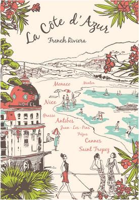 Torchons & Bouchons Tea Towel La Cote d'Azur