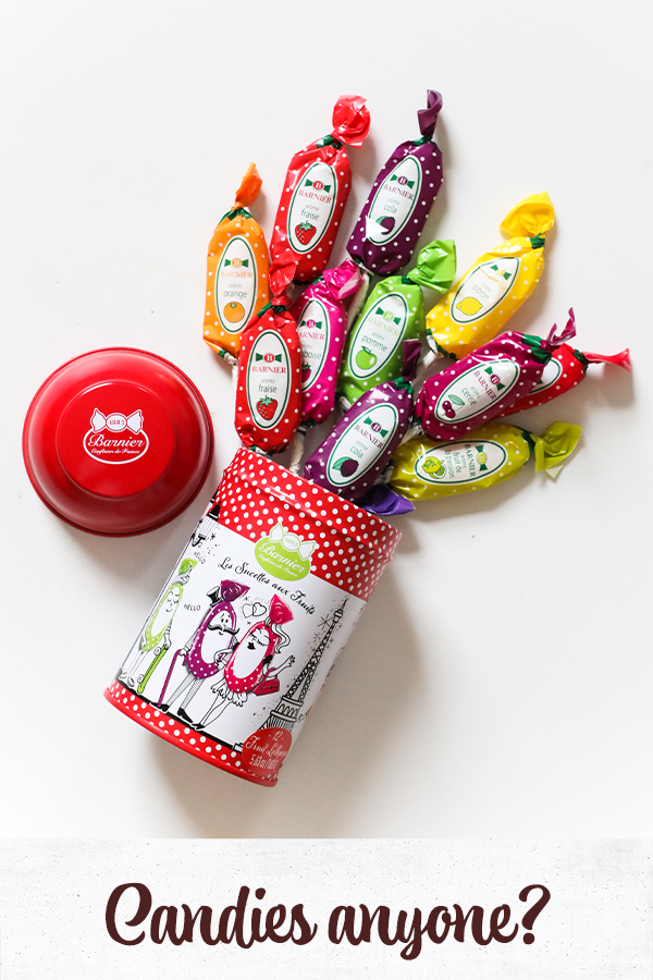 Lollipops in a red tin, French candies