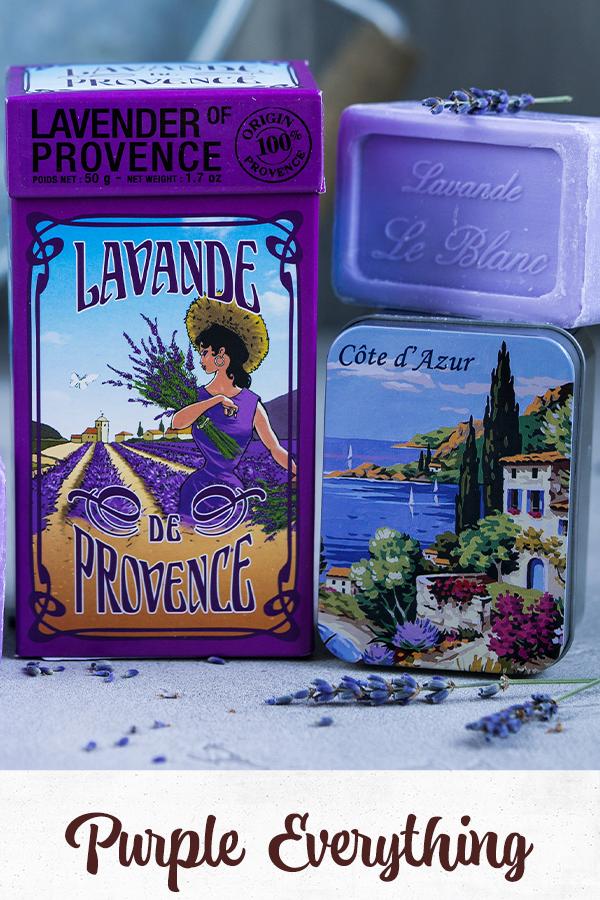 Purple items - lavender soaps, lavender herbs, provence