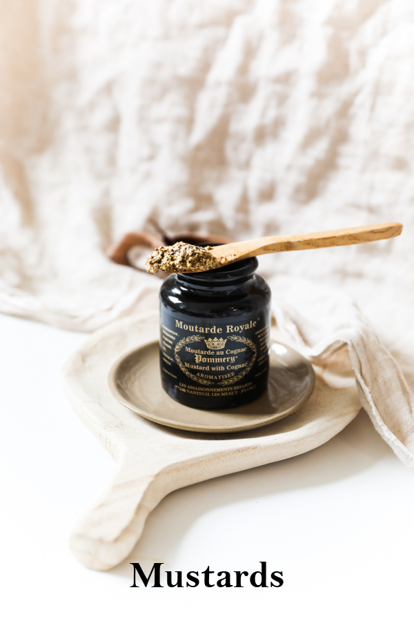 Pommery Cognac mustard with a spoon on top