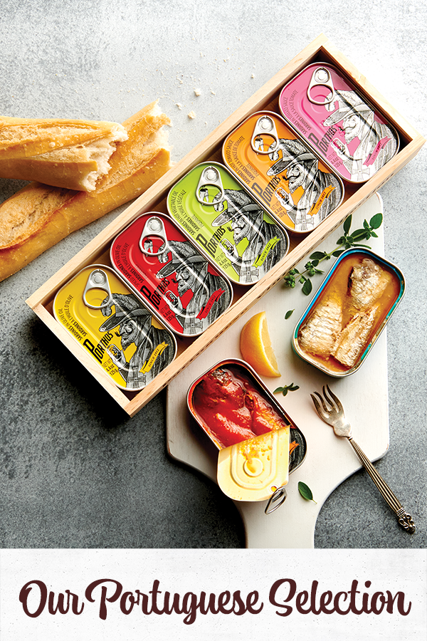 Portuguese tinned sardines in a gift box with a baguette