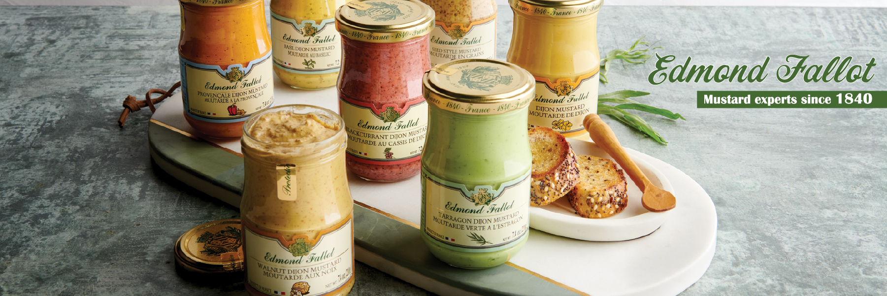 Edmond Fallot mustards - different flavors on a piece of toast