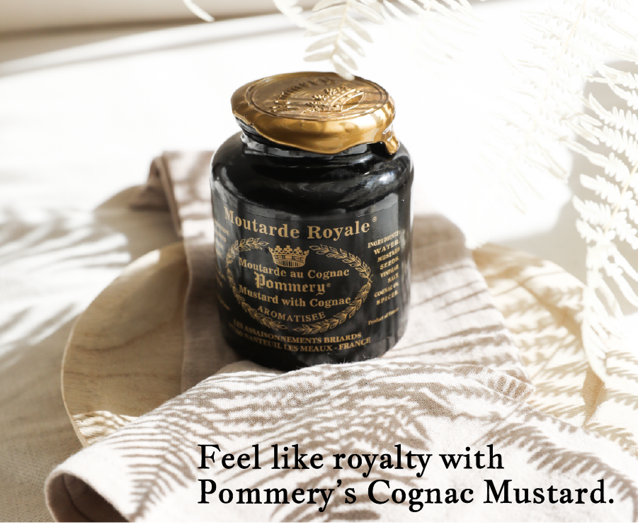Royal cognac mustard from Pommery, French mustard with golden lid