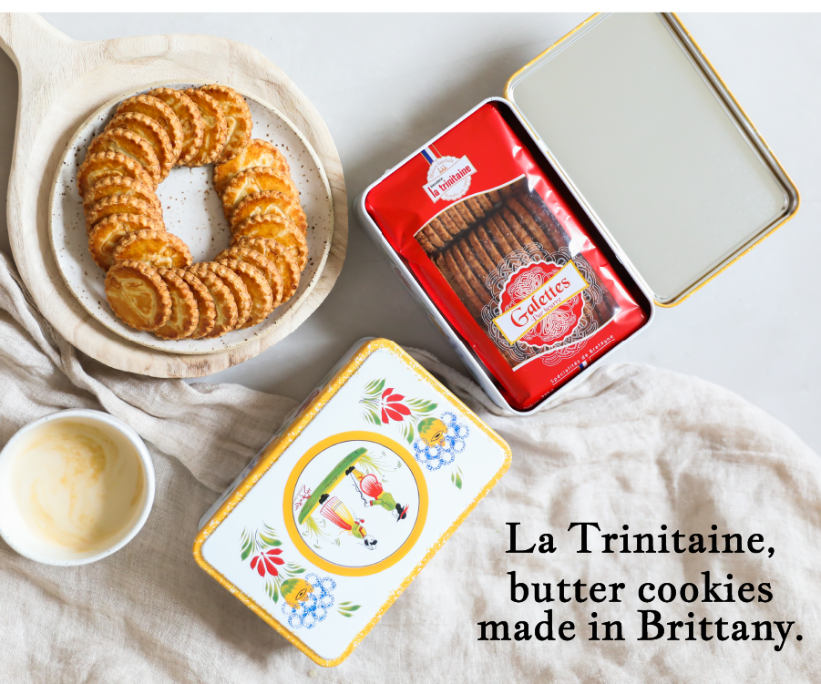 Butter cookies from Brittany made by La Trinitaine with a coffee