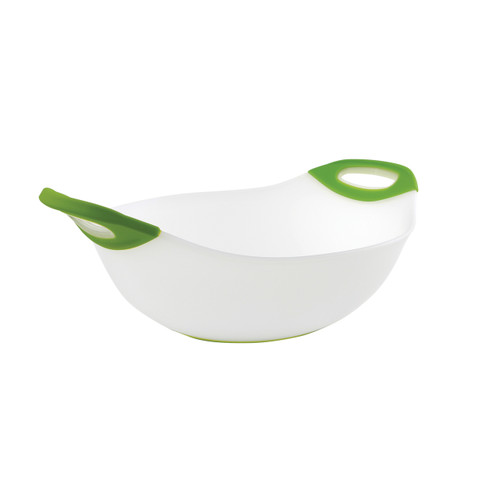Generous size 5 quart salad bowl with colour accent non-slip grip handle and non-skid base.