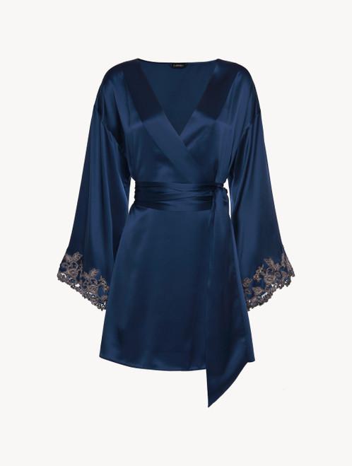 Robe de chambre courte en satin de soie bleu foncé avec broderie en guipure « frastaglio »