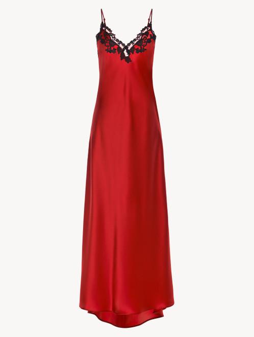Chemise de nuit longue rouge avec broderie en guipure « frastaglio »