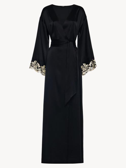 Robe de chambre longue noire avec broderie en guipure « frastaglio »