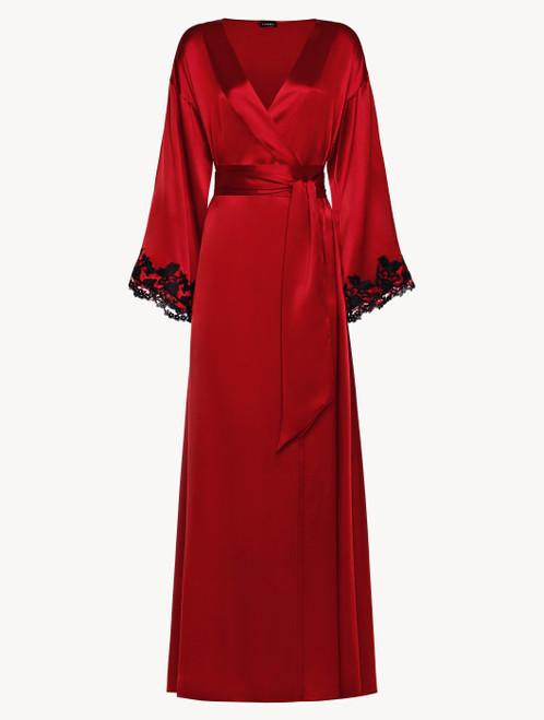 Robe de chambre longue rouge avec broderie en guipure « frastaglio »