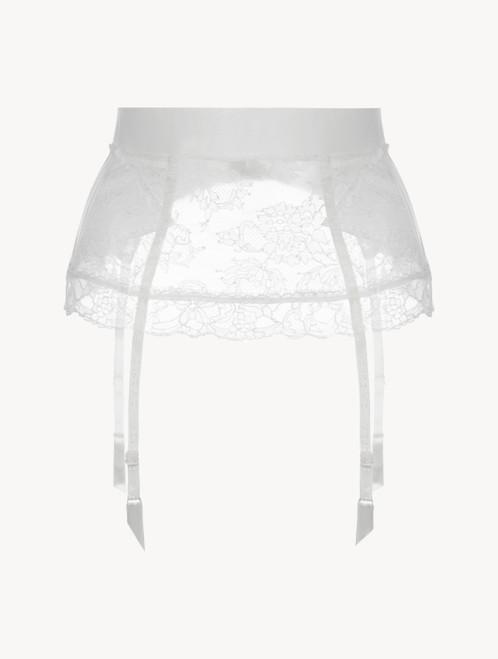 Porte-jarretelles « control fit » en Lycra® blanc avec dentelle de Chantilly