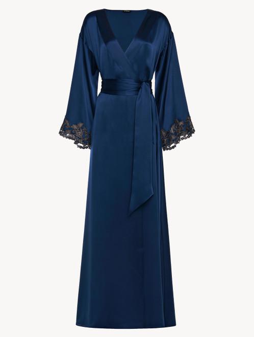 Robe de chambre longue bleu foncé avec broderie en guipure « frastaglio »