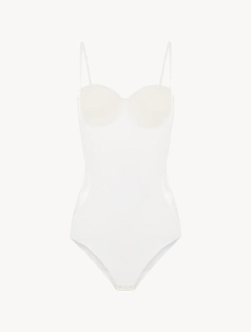 Body « control fit » en Lycra® blanc avec dentelle de Chantilly