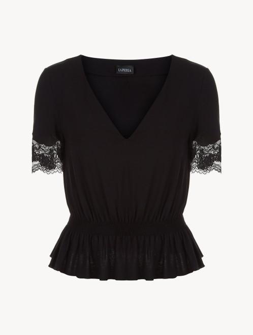 T-shirt en modal noir avec finitions en dentelle Leavers