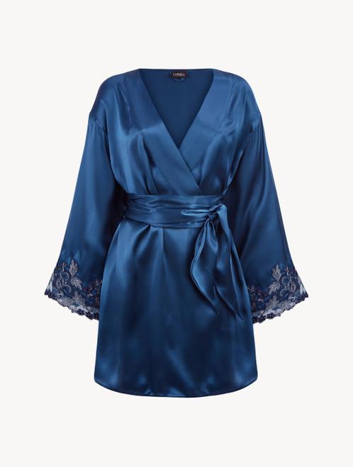 Robe de chambre courte en satin de soie bleu pétrole avec broderie en guipure « frastaglio »