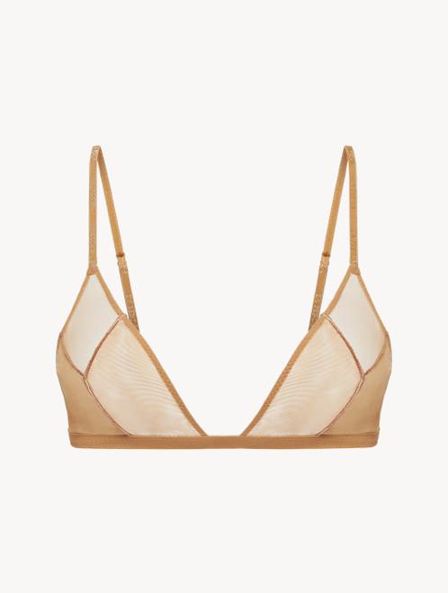 Soutien-gorge triangle en tulle stretch beige
