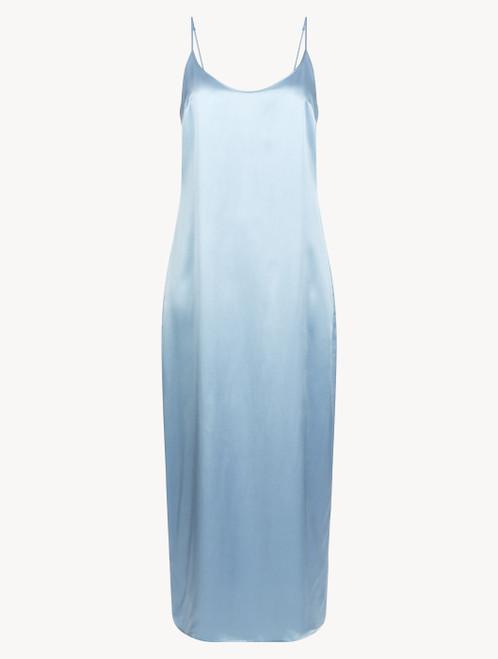 Slip dress longue en soie pervenche