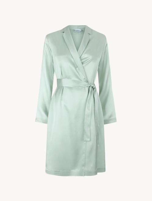 Robe de chambre courte en soie vert menthe