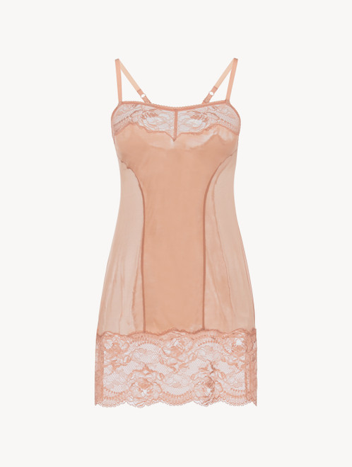 Slip dress en dentelle rose poudré