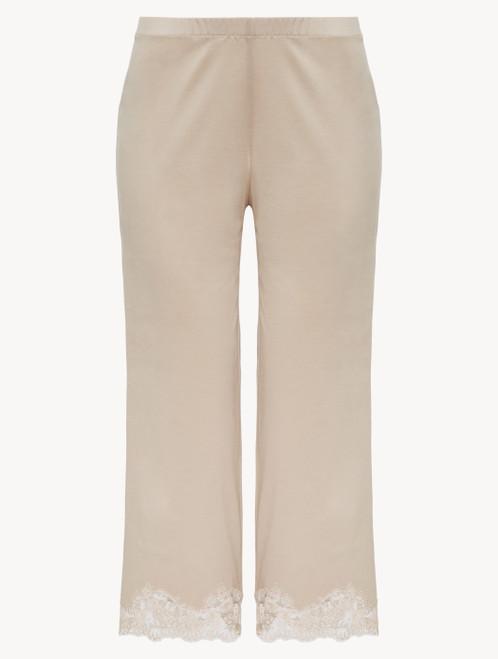 Pantalon en coton beige doux