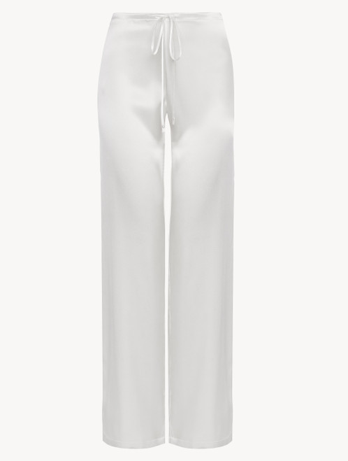 Pantalon en soie blanc cassé