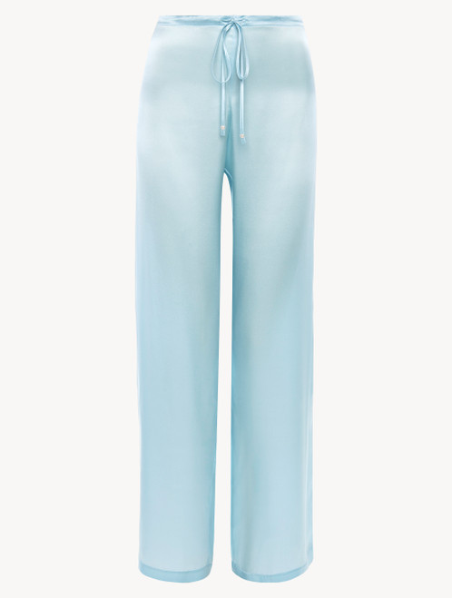 Pantalon en soie bleu ciel