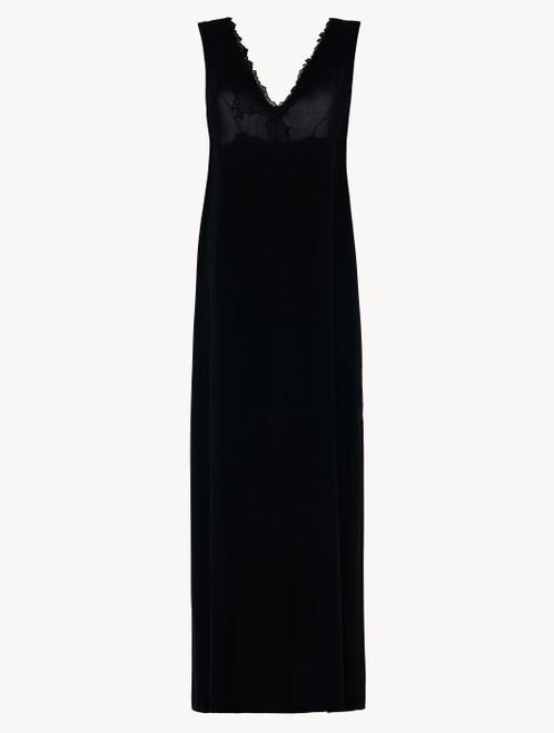 Chemise de nuit longue en viscose noire avec tulle