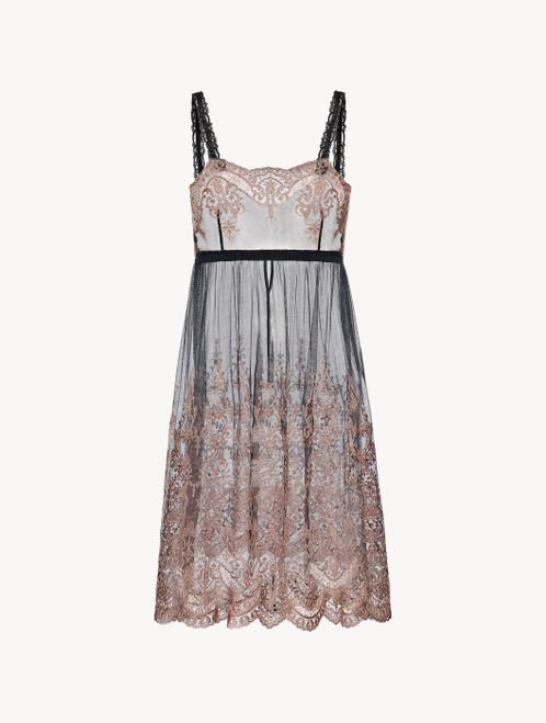 Slip dress courte en tulle brodé gris foncé et rose avec string
