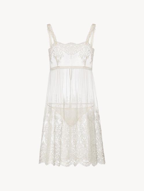 Slip dress courte en tulle brodé blanc cassé avec string