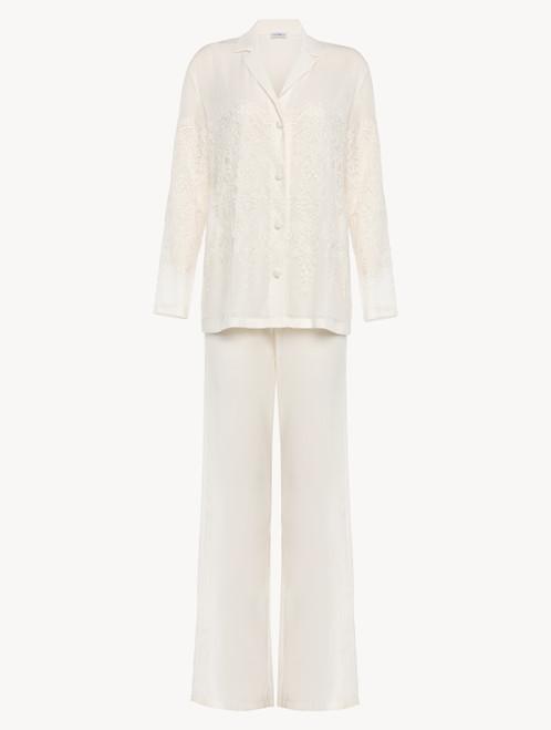 Pyjama en tulle et georgette de soie blanc cassé
