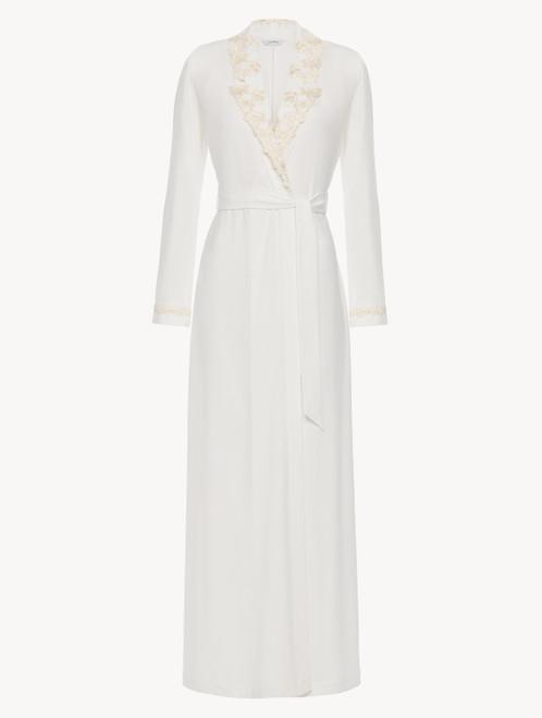 Robe de chambre longue en jersey blanc