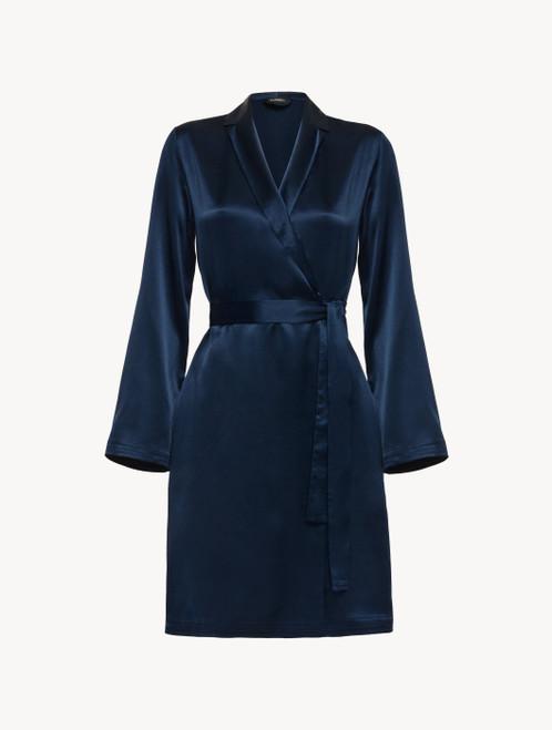 Robe de chambre courte en soie bleu marine