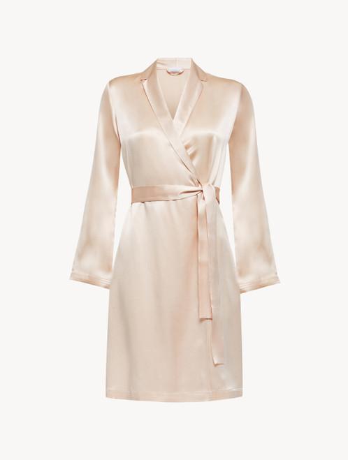 Robe de chambre courte en soie rose pâle