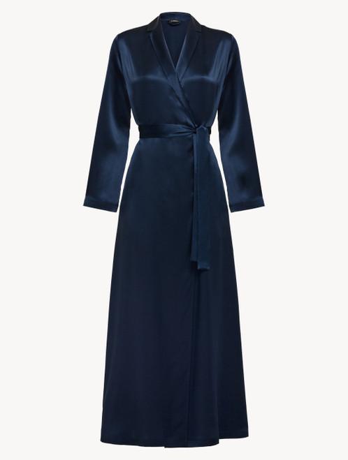 Robe de chambre longue en soie bleu marine