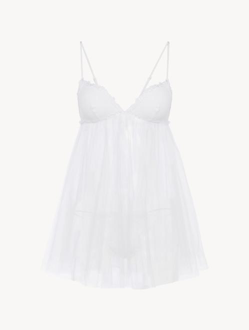 Slip dress et string en tulle blanc