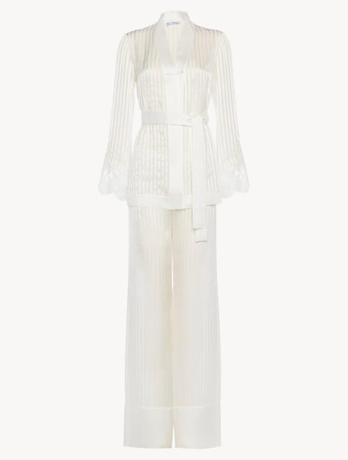Pyjama en soie blanc cassé avec dentelle Leavers