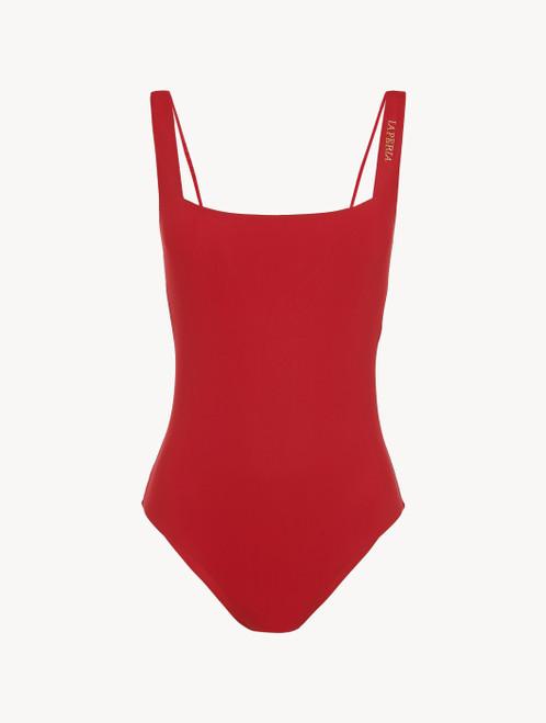Maillot de bain une pièce sans armatures rouge foncé