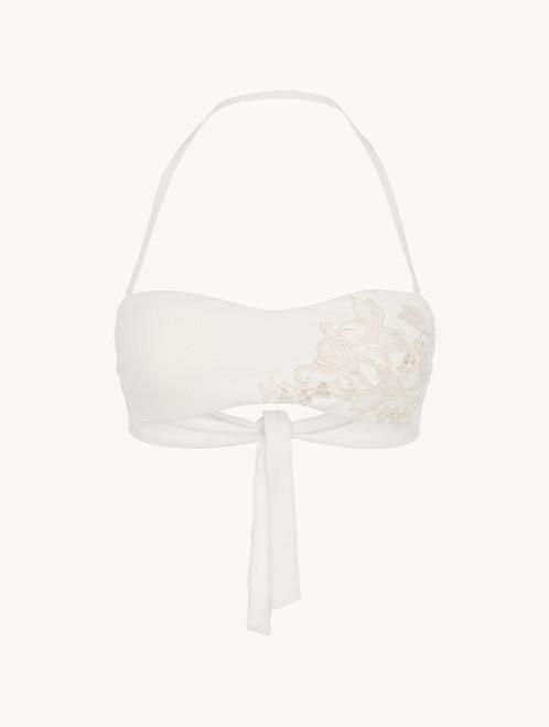 Soutien-gorge de bain bandeau blanc cassé orné de broderies ivoire